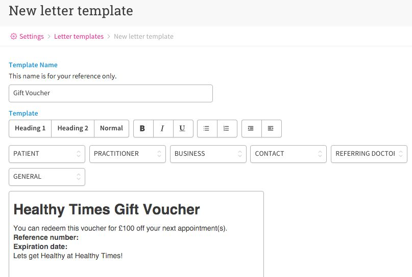 How to Create Gift Vouchers – Cliniko Support