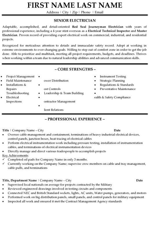 Super Design Ideas Electrician Resume Sample 11 Electrician Resume ...
