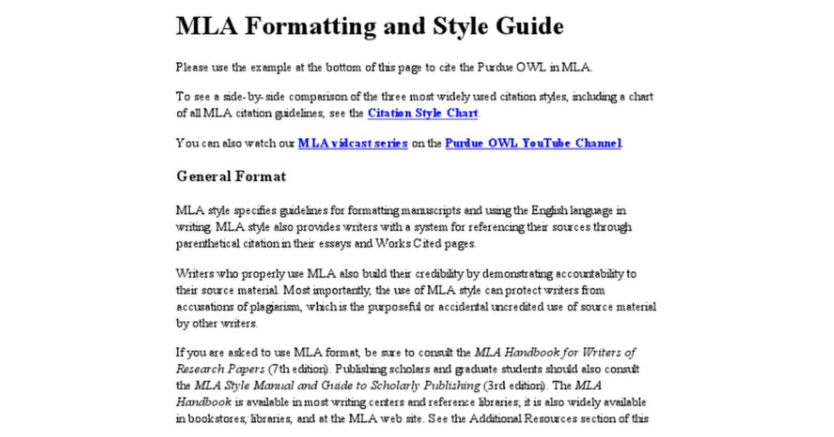 Purdue OWL MLA formatting - full resource - Google Docs