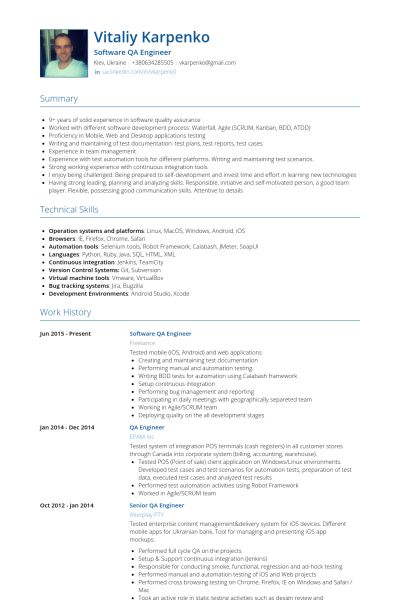 Qa Engineer Resume samples - VisualCV resume samples database