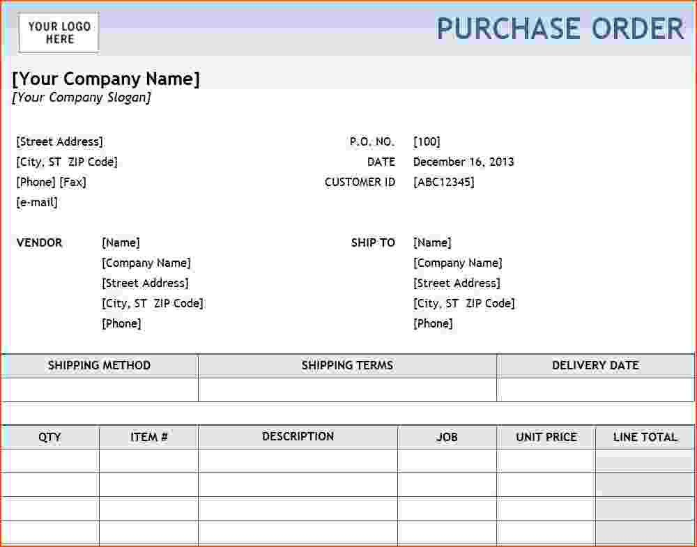 6+ purchase order template excel - bookletemplate.org