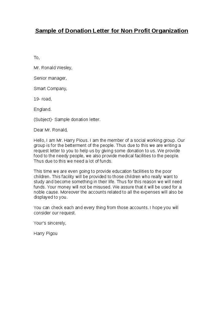 sample donation request letter for non profit - thebridgesummit.co