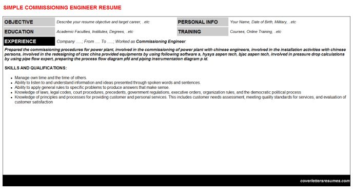 Commissioning Engineer Cover Letter & Resume