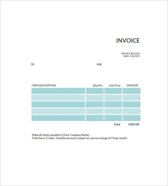 Standard Invoice Template – 8+ Free Word, Excel, PDF Format ...