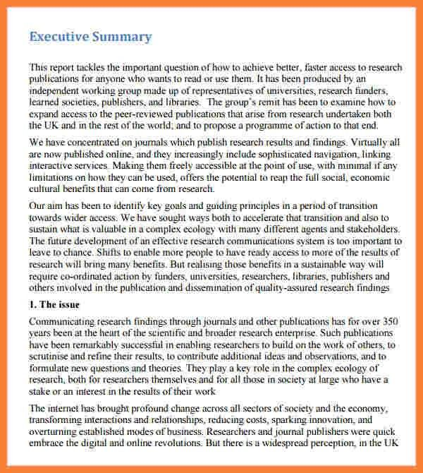7+ executive summary report example template | Progress Report
