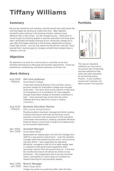 Part Time Resume samples - VisualCV resume samples database