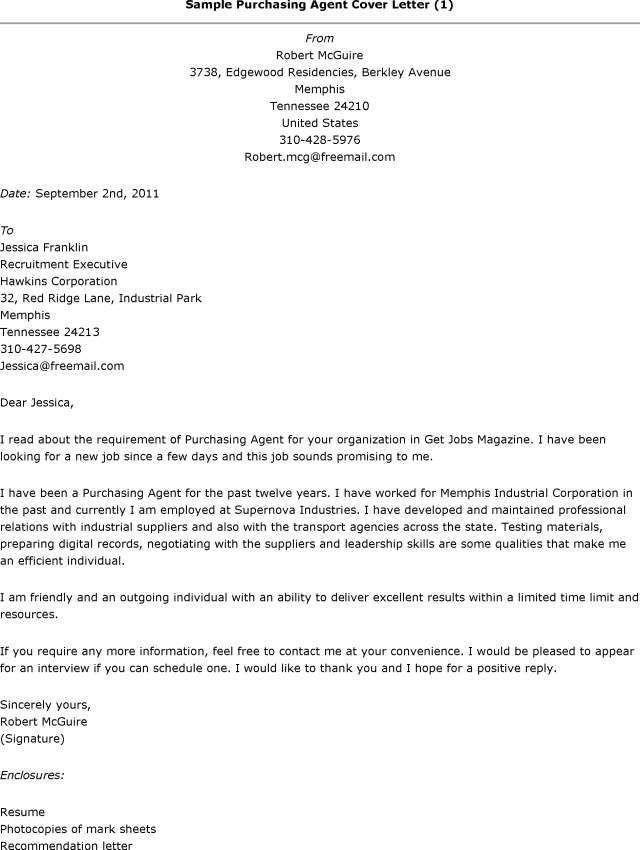 Sample Cover Letter For Purchasing Agent Position - Cover Letter ...