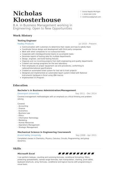 Testing Engineer Resume samples - VisualCV resume samples database