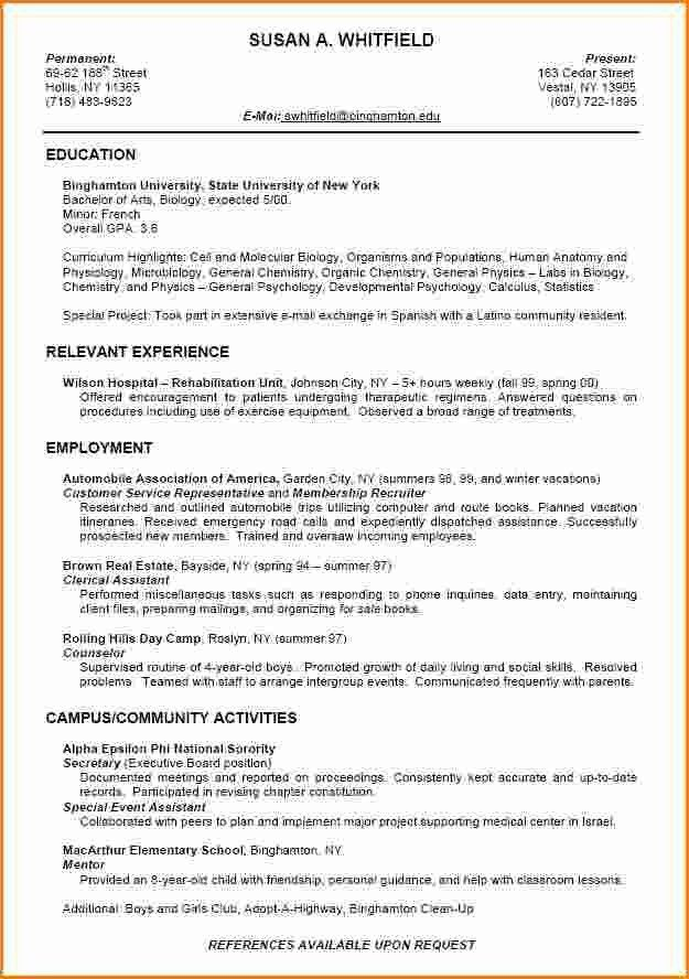 Resume Template College Student No Work Experience Resume And ...