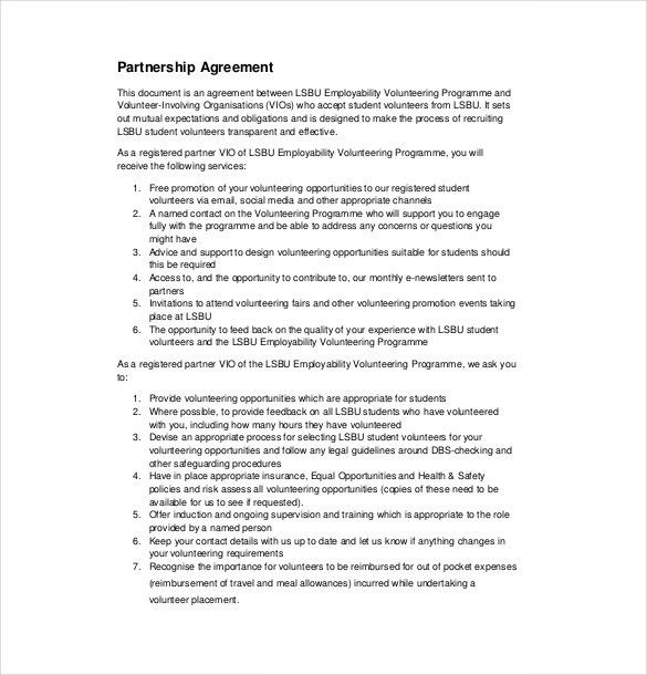 12+ Partnership Agreement Templates – Free Sample, Example, Format ...