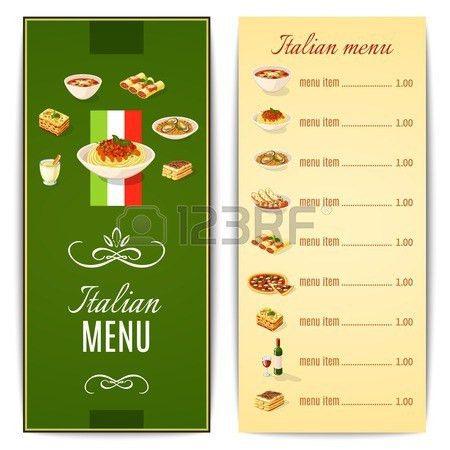 Italian Restaurant Menu Template With Traditional Food Cuisine ...