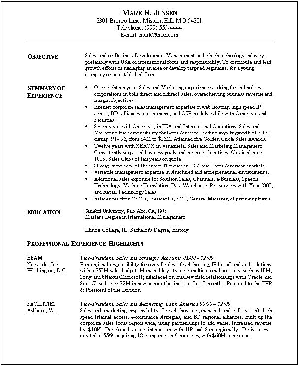 Sales And Marketing Resume Sample | Sample Resumes