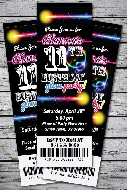 GLOW Birthday Party Invitation TICKET Stub NEON Bracelet Necklace ...