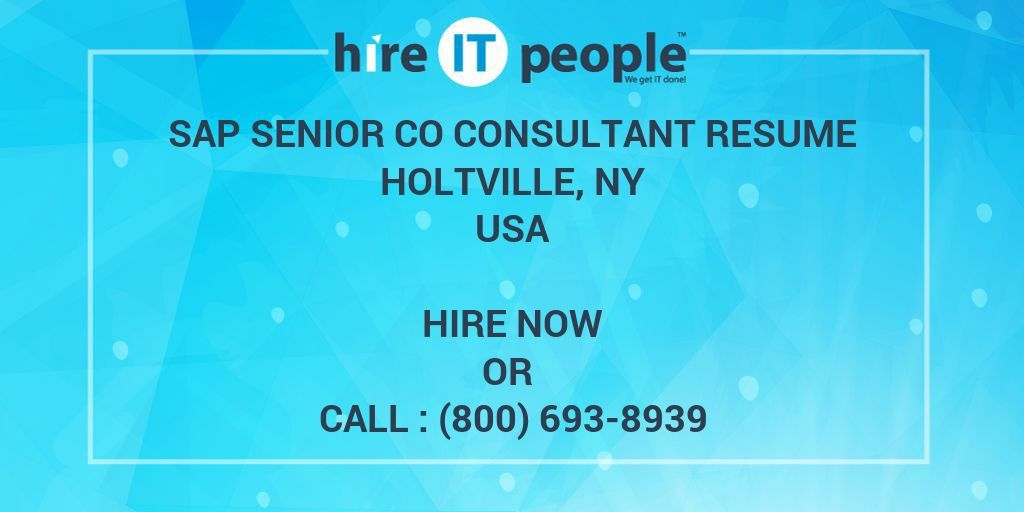 SAP Senior CO Consultant resume Holtville, NY - Hire IT People ...