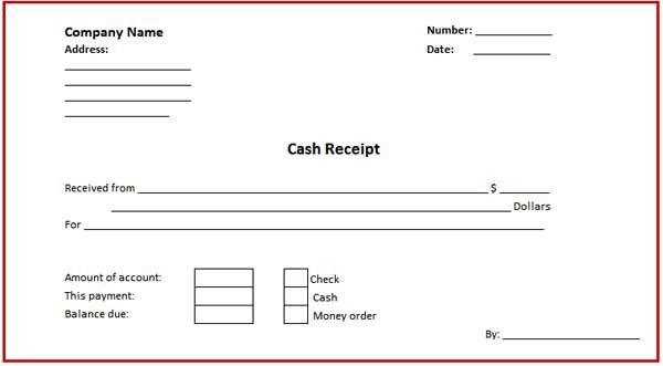 Free Printable Cash Receipt Form and Template with Red Border ...