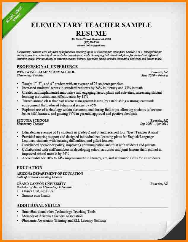 admin teacher resume exampleselementary teacher resume ...