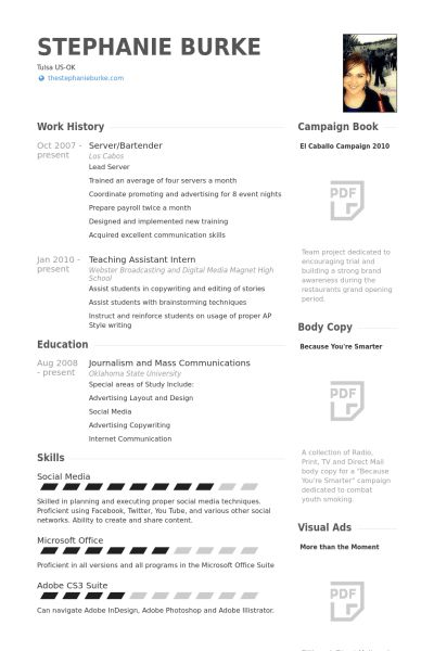 Server, Bartender Resume samples - VisualCV resume samples database
