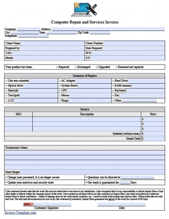 Free Computer Repair Service Invoice Template | invoice ...