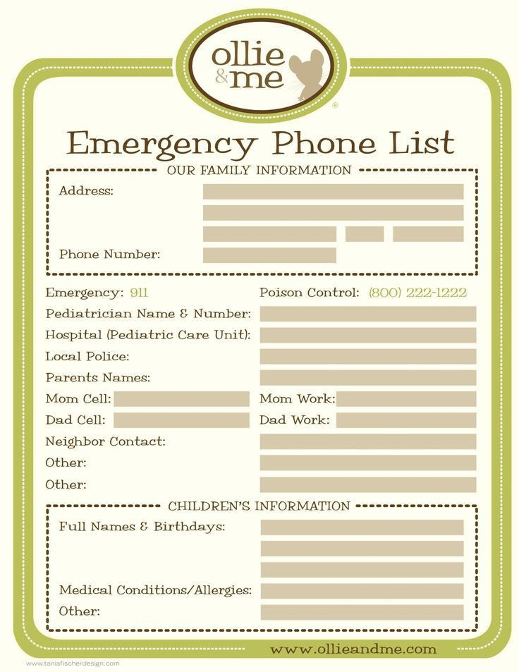 Emergency Numbers List Template image information