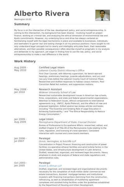 Legal Intern Resume samples - VisualCV resume samples database
