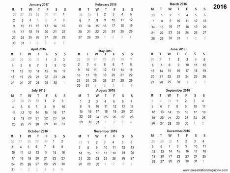 Free 2016 printable calendar template