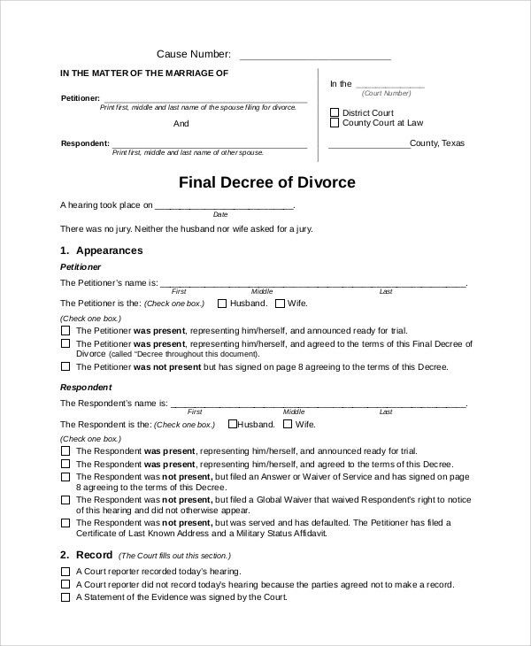 Sample Divorce Form - 7+ Examples in Word, PDF