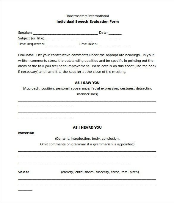Toastmaster Evaluation Template – 20+ Free Word, PDF Documents ...