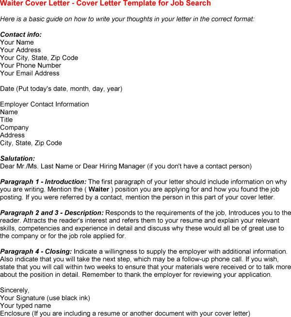 waiter cover letter for Waitress Cover Letter - My Document Blog