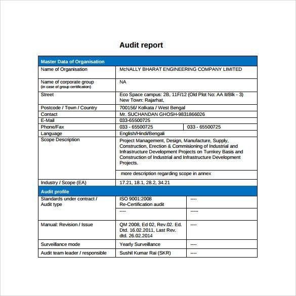 Simple Audit Report Template with Blue Table Format for Master ...