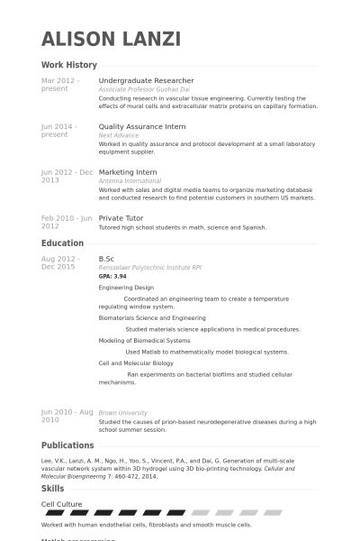 undergraduate researcher resume samples visualcv resume samples - Undergraduate Resume Format