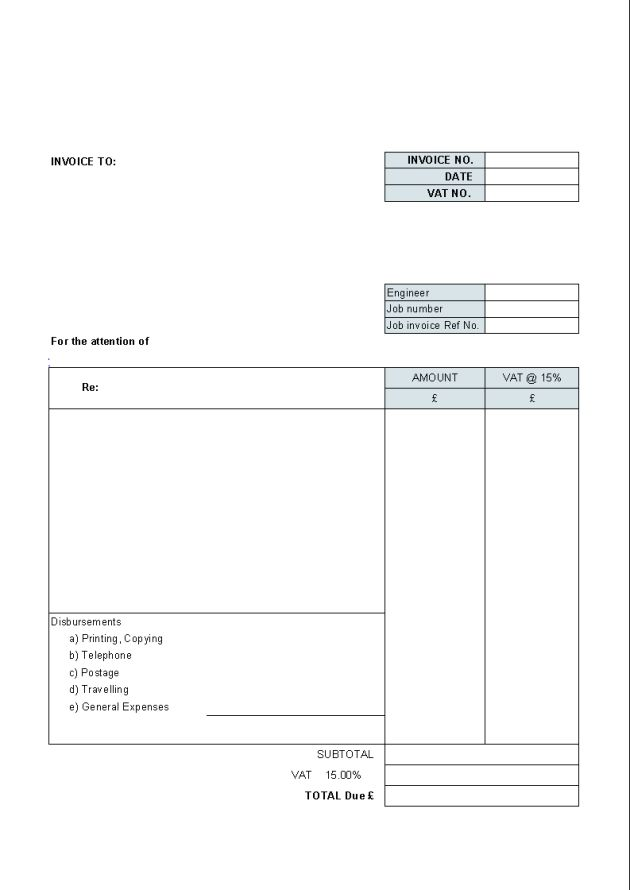 Printable Simple Blank Invoice Template Example : Helloalive