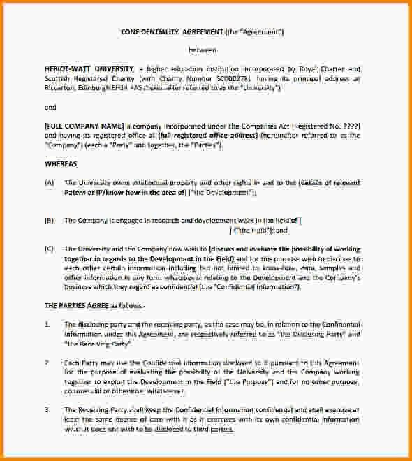 Confidentiality Agreement Sample. Non-Disclosure Agreements Are ...
