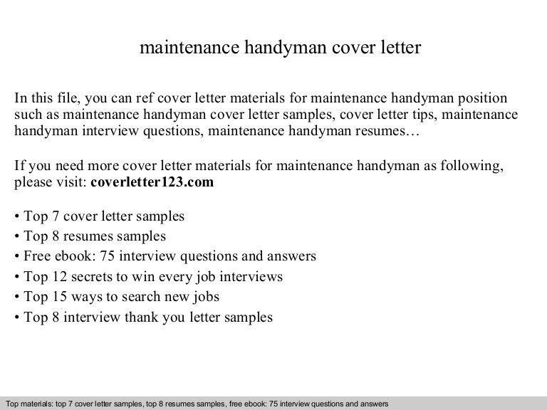 Maintenance handyman cover letter