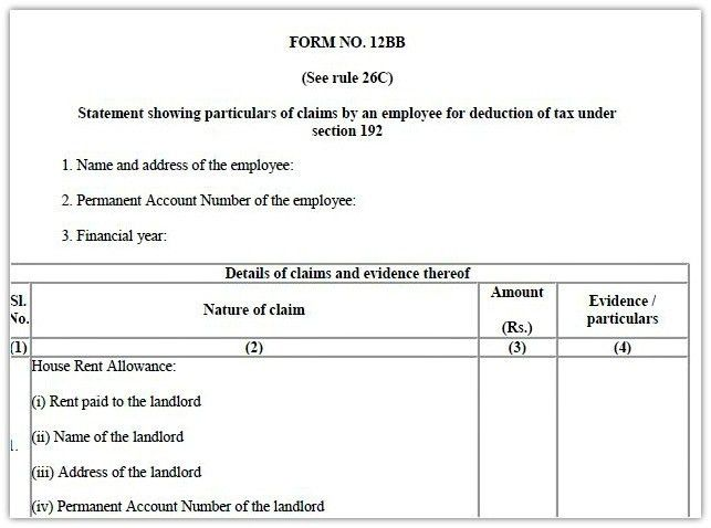 Form 12BB - New Form to claim Income Tax Benefits / Rebate