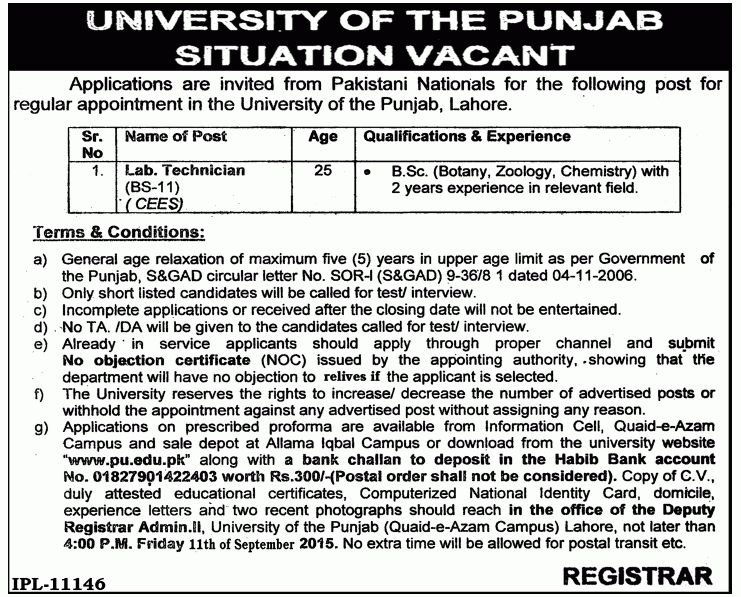 Lab Technician Job in University of Punjab • Jobs 2017 in Pakistan ...