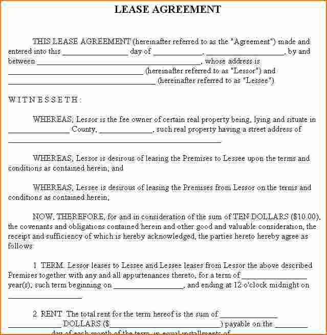 6+ Free Printable Rental Lease Agreement | Printable Receipt
