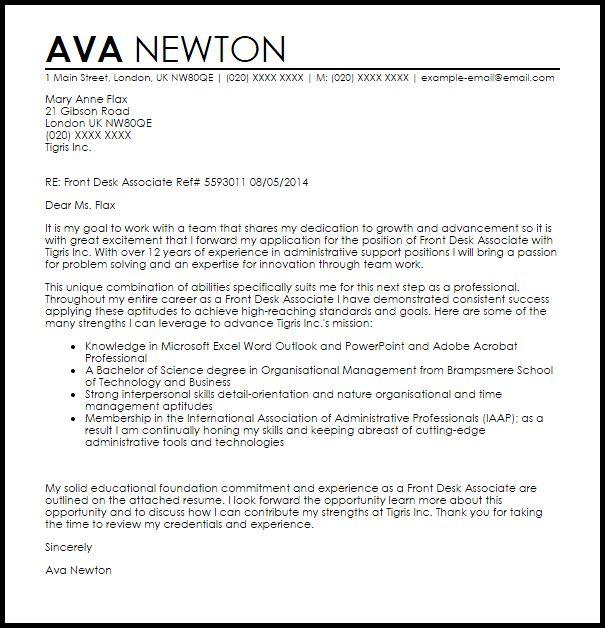 Front Desk Associate Cover Letter Sample | LiveCareer