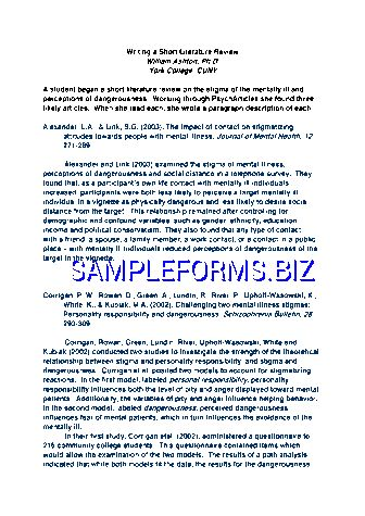 Literature Review Example templates & samples forms