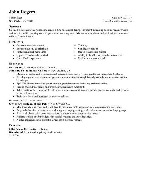 Best Host Hostess Resume Example | LiveCareer