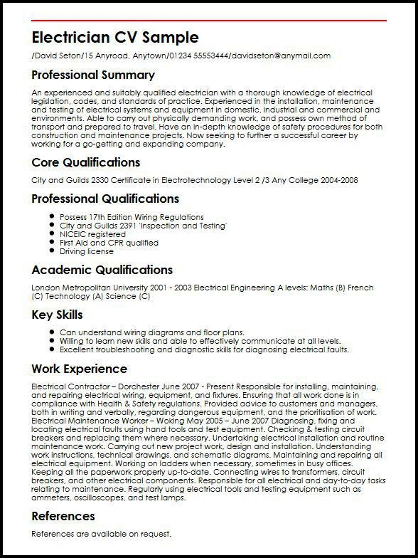 Electrician CV Sample | MyperfectCV