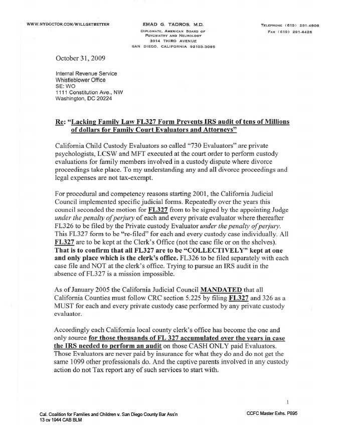 Complaint to Internal Revenue Service IRS–Title 5, CRC 5.225, fl-327