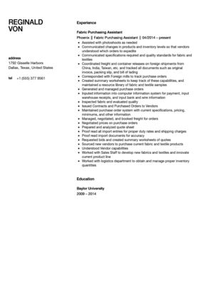 Fabric Assistant Resume Sample | Velvet Jobs