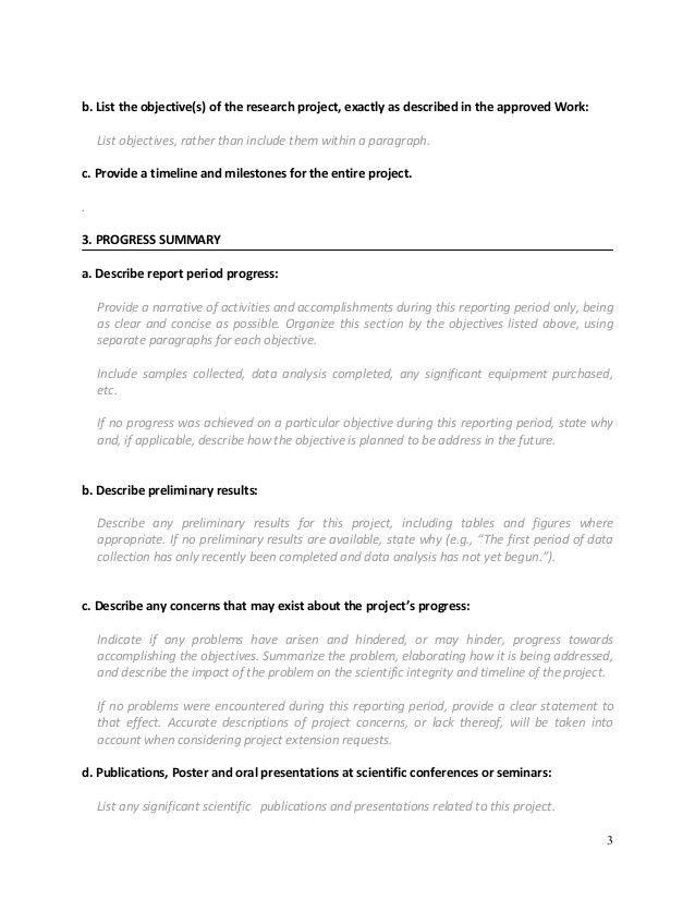 Format for writting progress report