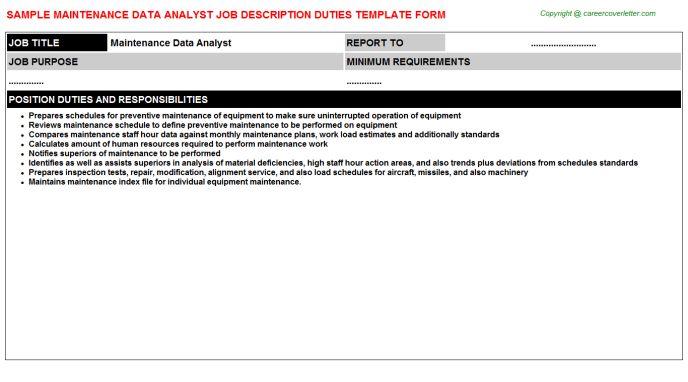 Maintenance Data Analyst Job Description