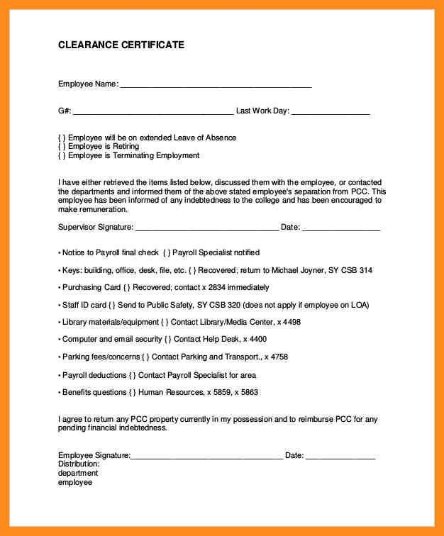 Employee Clearance Form. New Employee Document Checklist Document ...