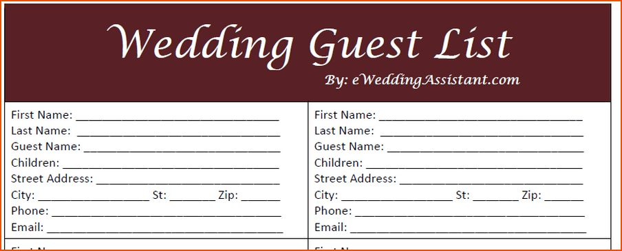 8+ wedding guest list template - bookletemplate.org