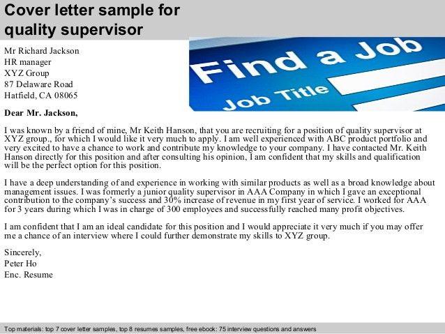 Quality supervisor cover letter