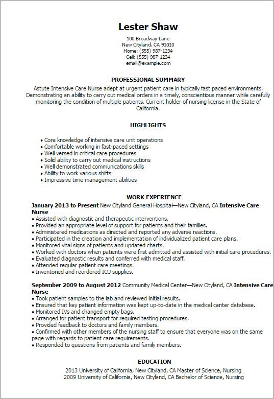 surgical icu nurse resume sample. free student nurse resume ...