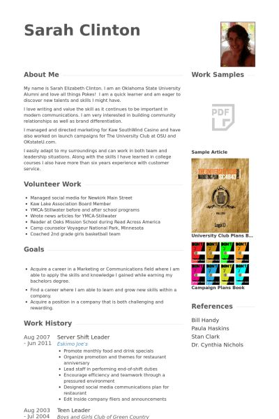 Shift Leader Resume samples - VisualCV resume samples database