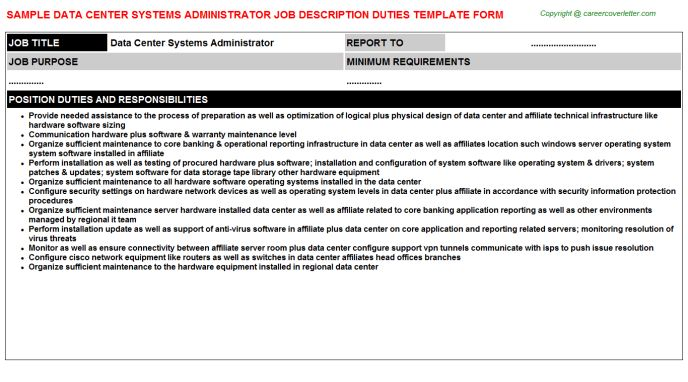 Data Center Administrator Cover Letter